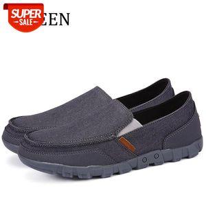 Spring Мужская повседневная обувь скольжения на мужчинах Холст Обувь бесплатная доставка мужской большой размер EUR38-EUR48 # ZG7A