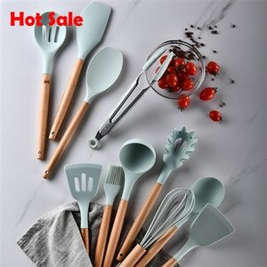 accessories Silicone Utensils Non-stick Spatula Shovel Wooden Handle Cooking Set Kitchen Tools hot