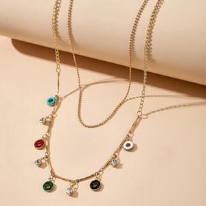 2021 New Hawaii Bohemia Multilayer Chokers Ожерелья Красочный круг Золотая цепочка Короткое ожерелье Мода Украшения Подарок