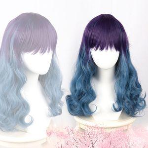Gradual Peacock Blue to Haze Grey Blue Lolita Wig Harajuku Long Straight Synthetic Hair Fringe Bangs Daily Adult Girls