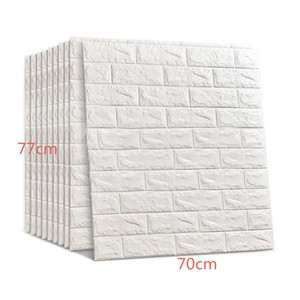 Hot 70*77Cm 3D Brick Wall Stickers DIY Self Adhesive Decor Foam Waterproof Wall Covering Wallpaper For TV Background Kids Living Room