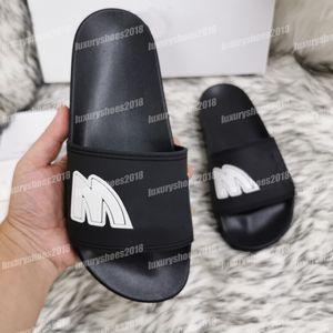 Frauen der Männer Sommer-Sandelholz-Strand Pantoffeln Slide Männer Damen Freizeit Brief Print Leder Flip Flops mit Box 35-45