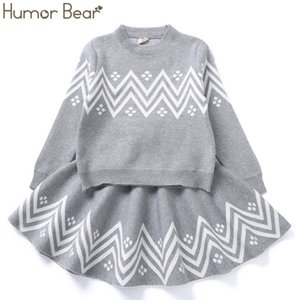 Humor Bear Winter Girls Clothes Suit Geometric Pattern Dress Girls Knited Clothes Long sleeveTop Coat+ Skirt 2pcs Sweater 201103