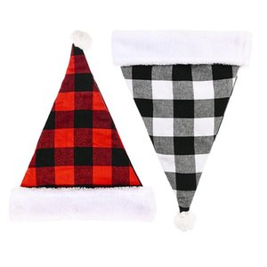 Santa Claus Christmas Chapéus Vermelho Preto Xmas Cap de Xmas Curto Plush Com Bangas Brancas Tecido Noel Chapéu Decoração EWC2981