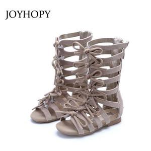 أحذية JOYHOPY جودة عالية بنات الروماني الصنادل بنات جلد طبيعي الأحذية أزياء الأطفال الصنادل المصارع الطفل