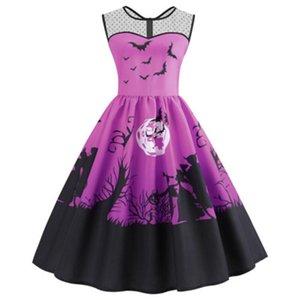 Halloween Women Swing Dress Fashion Trend Summer Sleeveless Casual Loose Dress Clothing Designer New Female Halloween Round Neck Dresses
