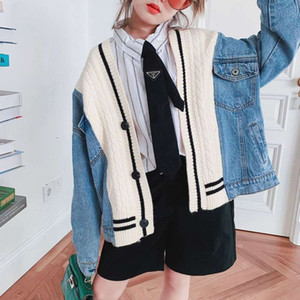 Autumn 2020 clothing Korean foreign sle knitting denim middle and large children's cardigan et