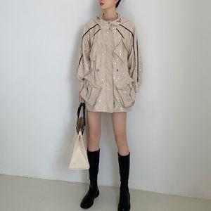 Flash-Polka-Dot-Jacken für Frauen mit Kapuze beige Kordelzug Backless Batwing Hülse Designer Mantel Paillettenjacke 2020 C371 Q0119