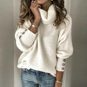 Womens Turtleneck Sweater Pullovers Casual Autumn Winter Lady Loose Jumper Tops Metal Button Long Sleeve Chunky Knit Sweaters