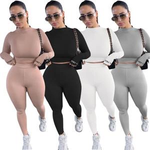Moda Kadınlar 2 Parça Spor Temel Sıska Tracksuist Katı Rahat İki Parçalı Pantolon 4 Renklerde Set