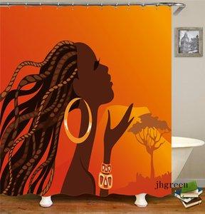 Pós-modernos Conjuntos de casa de banho Shower Curtain Set com gancho Waterproof Washroom Bath Cortinas Eco-friendly Imprimir Moda Cortinas