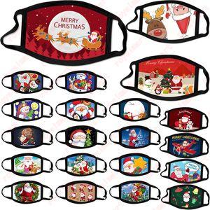 Frohe Weihnachten Gesichtsmaske Mode Kreativität Cartoons Sankt Elk Printing Masken staubdicht wiederverwendbare waschbare Weihnachts Mund-Maske