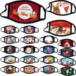 Máscara Máscaras Feliz Rosto de Natal Moda Criatividade Cartoons de Santa Elk impressão à prova de poeira máscara reutilizável lavável Xmas Boca