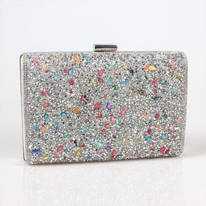 Silver Black Gold Women elegant fashion Splice Rhinestone wedding party clutch evening bag ladies shoulder bag flap purse