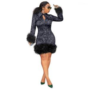 Рукав Тонкого Fit Платье женской-футляр Осень Одежда женщины Цветочного отворот шея платье Длинного