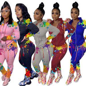 Tie-dye colorful splash ink print Women Designers Clothes Hooded Long Sleeve Zipper Jacket Pants Leggings Sports Suit Outfits 5color D102804