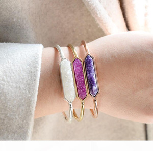 Western Bangle gold silver copper open bracelet lady natural stone Druzy crystal agate bracelet