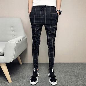ICPANS New Formal Dress Trousers Men Slim Fit British Plaid Mens Suit Pants Fashion Summer Office Business Trousers Male Y201026