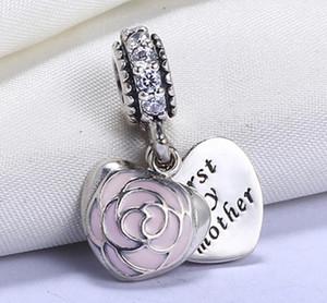 Usine en gros VRAI-925 Sterling Silver non plaqué Premier ma mère cœur Charms européen Beads Fit Pandora Chain Bracelet PS2070