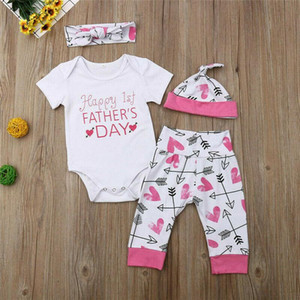Newborn Baby Romper Bodysuit+Pants+Hat+Headband Outfits Father Day Clothes Set
