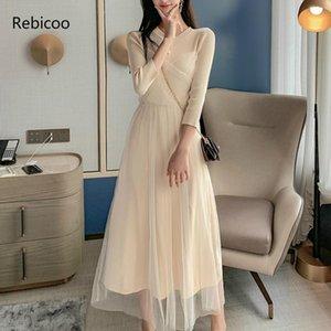 Rebicoo señoras del temperamento Nuevo otoño elegante de malla de punto vestido de costura elegante del partido Mujer Vesitidos