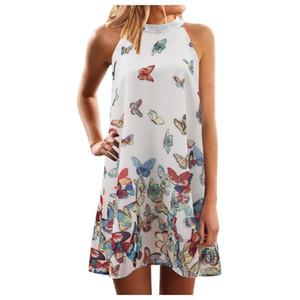 Fashion Women Summer Dress Ladies Butterfly Print Party Beach Parent-child Outfit Dress Elegant Halter A-line Dresses #LR1