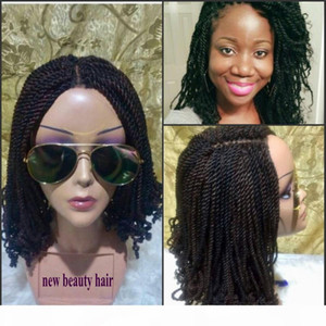 Stock 200density full Curly Crochet Hair short Kinky Twist wig Braiding Hair Synthetic braid lace front wig For black women