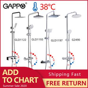 GAPPO thermostatic shower faucet chrome color bathroom bath shower mixer set waterfall rain shower head bathtub faucet taps 1011
