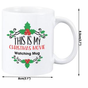 Regalo lindo de Navidad de la historieta de la taza creativa de doble cara impresa de porcelana Copas Felicidad Películas precioso Moda leche tazas de café Tazas OWA1702