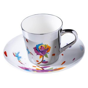 Mirror Coffee Mugs Specular Reflection Rose Cups And Saucers Spoon European Style Coffeeware