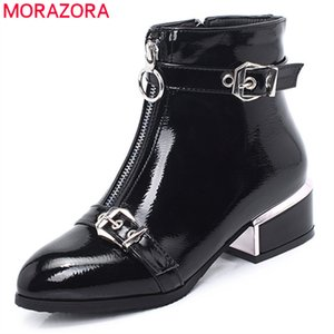 2020 new arrival ankle boots for women buckle zip round toe autumn winter boots fashion dress office shoes female210