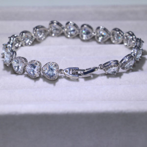 3 Style Victoria Luxury Jewelry Shinning 925 Sterling Silver Full Princess Cut White Topaz CZ Diamond Romania Wedding Bracelet For Women