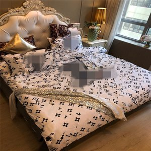 4PCS Cotton Luxury Bettbezug New Printed Qualitäts-Bettwäsche Abdeckung Thick Queen-Size-Bettwäsche-Sets