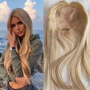 Blonde Human Hair Topper 613 60 Highlights color Virgin European Mono Slik Toupee for Women 130% Density Clip in Hair Pieces