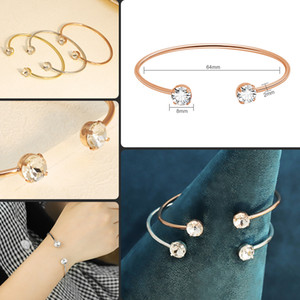 Gold Rose Gold Silver Colors Round Double Diamond Crystal Open Bracelet Jewelry Gift for Girlfriends Bracelet