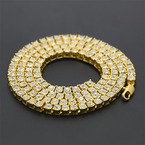 Gold Chain Hip Hop Row Simulated Diamond Hip Hop Jewelry Necklace Chain 18-20-24-30 inch Mens Gold Tone Iced Out Chains Necklace 99 O2