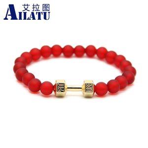 Ailatu 10 Piece 8mm Red Color Matte Glass Beads Alloy Metal Dumbbell Bracelet New Design Men Energy Barbell Jewelry