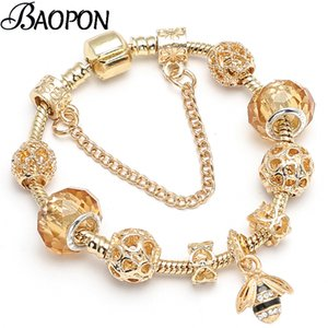 BAOPON Luxury Crystal Bees Gold Color Charm Bracelet For Girl Murano Glass Beads Fine Bracelet For Women Couple DIY Jewelry Gift