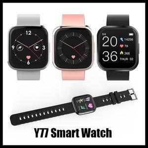 2020 Nouveautés Y77 Smartwatch Grand plein écran tactile Femmes Hommes Business Style Sport Fitness bracelet moniteur de fréquence cardiaque pour IOS Android Xiaomi