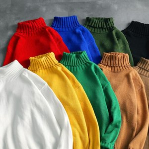 Autumn Winter Warm Men and Womens turtleneck sweater solid-color high-necked Pullover Hoodies Fshion loose knitwear Sweaters