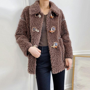 2020 Winter New Women Fashion Real Sheep Fur Coats Genuine Sheepskin Jacket Female Natural Wool Streetwear Outwear Q291