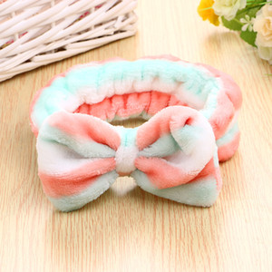 Woman Wash Face Hair Holder Hairbands Soft Coral Fleece Bow Headband For Women Girls Turban Hair Accessories