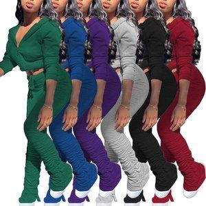 Женская 2 шт Модные Solid Color Повседневный костюм Sexy длинным рукавом на молнии Bare животом Кардиган плицирован расклешенные штаны