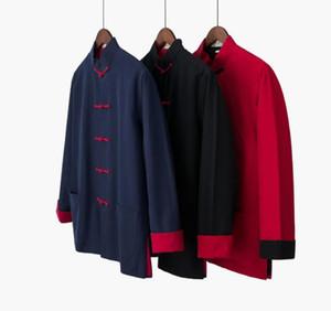 Pamuklu erkek Sonbahar Yeni Çince Geleneksel Uzun Kollu Ceket Kaban Tai Chi Üniforma Giyim Erkek Gömlekler