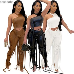 Rock Style Bandage Womens 2 Piece Set Suit Sexy Halter Hollow Out Crop Tops PU Leather Pants Nightclub Set 836