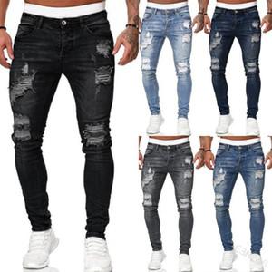 Los nuevos hombres con estilo rasgado agujero Jeans Denim pantalones con bolsillos y botones flaco pantalones largos Streetwear alta calidad