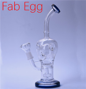 Fab Egg Glass Beaker Bongs Showerhead Perc Bong 9 Inch Recycler Dab Rig bong with 14mm female oil burner pipe and bowl