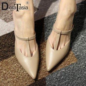 Doratasia Zarif Bayanlar Yaz Siyah Zarif Elbise Pompaları Kadınlar Sivri Burun Toe Klasik Ayakkabı Kadın1