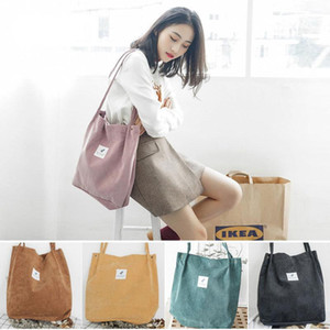 Lady Corduroy Bags Canvas Korea Storage Tote Bag for Women 2020 Recyclable Shopper Bag Literary Style Bucket Rag Shoulder
