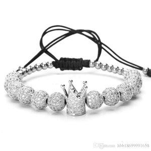 Männer Bileklik Slivery Crown Charm Bracelets Schmuck DIY 4mm runde Korn geflochtenes Armband weibliche Zirkon